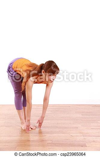"yoga ""standing forward bend pose"" example shot of yoga"