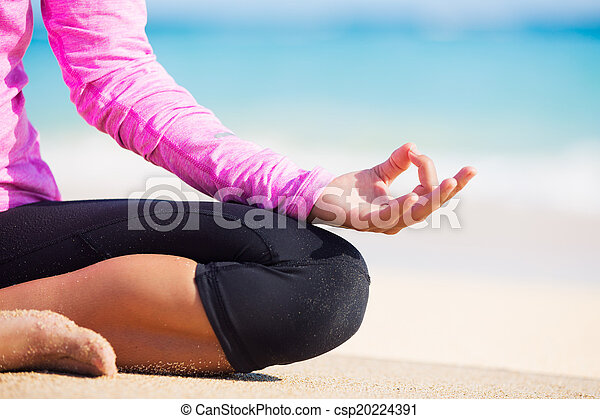 yoga happy relaxed young woman practicing yoga outdoors