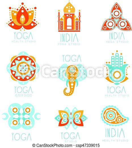 Yoga Studio Labels Set Stylized Famous Spiritual Indian Symbols