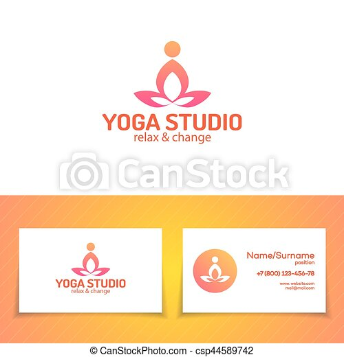 Yoga Studio Logo Set Consisting Of Figure Training Man Rof Use Yoga School Center Meditation Class Health Care Sport