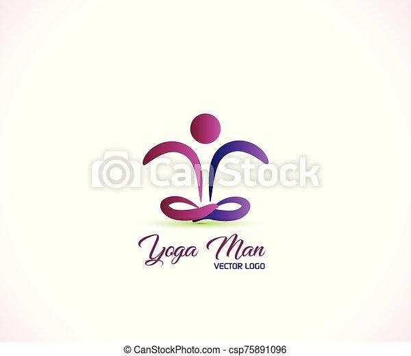 yoga, sundhed, logo, figur - csp75891096