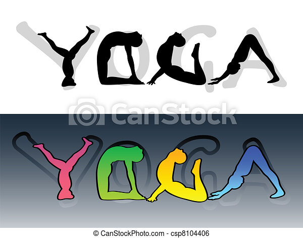 Yoga Symbol Made From People Silhouettes And Letters