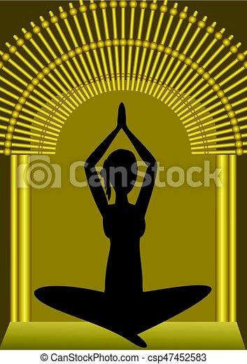 Yoga Training Woman Silhouette In Golden Gate Spiritual Symbol Asana