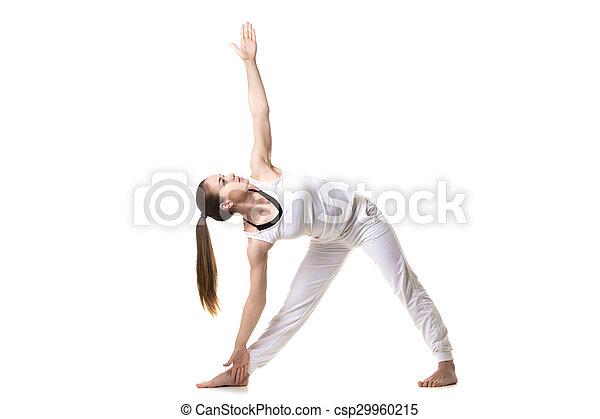 yoga trikonasana pose beautiful fitness model practices