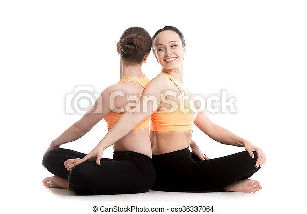 yoga with partner easy decent pleasant pose sukhasana