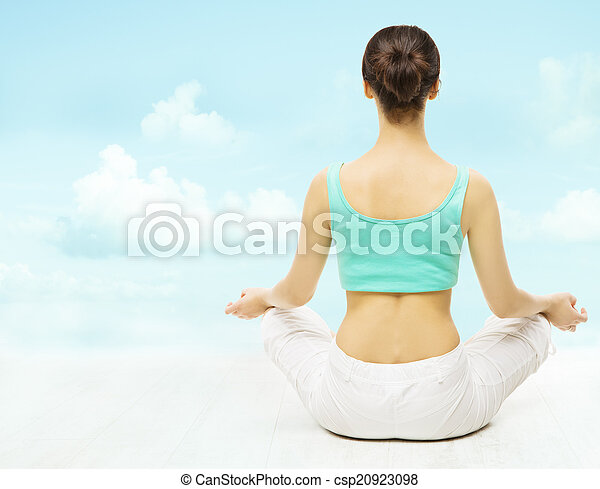 yoga woman back view meditate sitting in lotus pose over