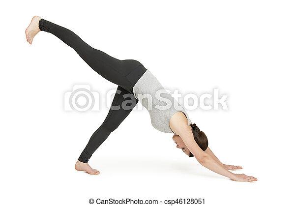 yoga woman grey position adho muka shavasana full body