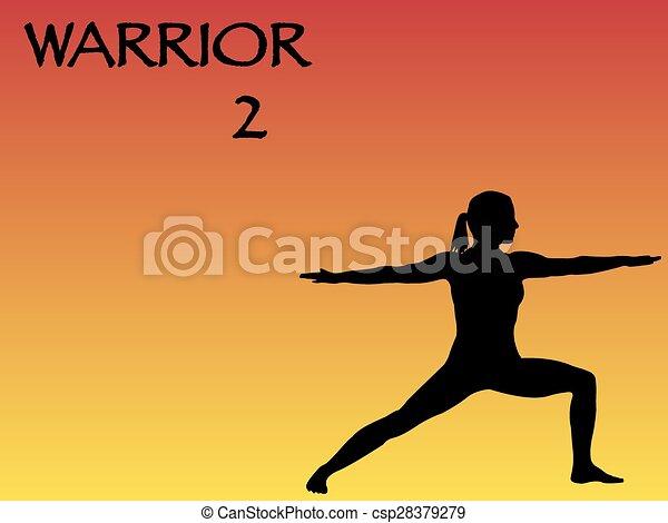 Yoga Woman Warrior 2 Pose - csp28379279