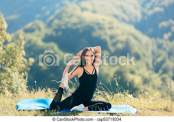 Yoga Woman Wearing Bodysuit Overall Trying King Pigeon In Nature Beginner Yoga Girl Trying Yoga Poses Outside On Her Mat