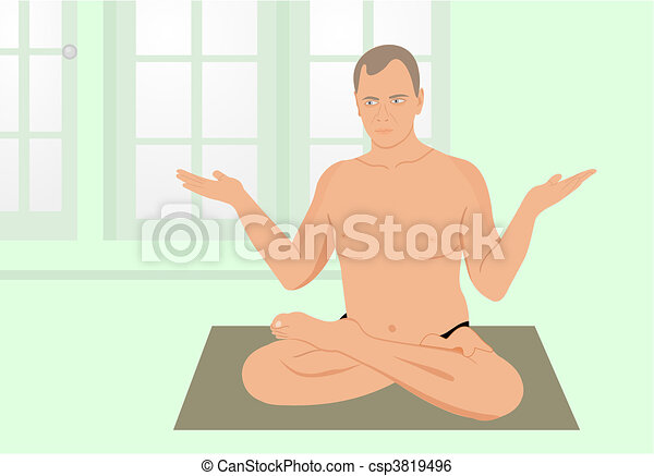 Yogas the man meditates in sports hall - csp3819496