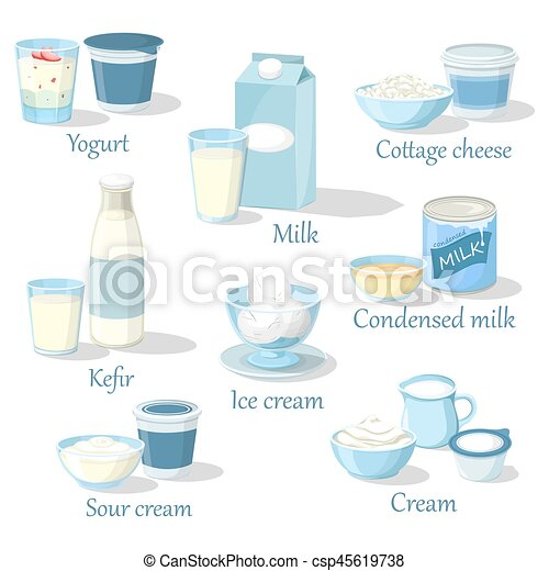 Fruit Yogurt And Kefir Milk Product In Carton Pack Cottage Cheese Food Whipped Sour Cream Ice Condensed Natural Organic Healthy