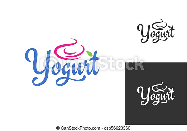 yogurt cream logo. Frozen yogurt label set background - csp56620360