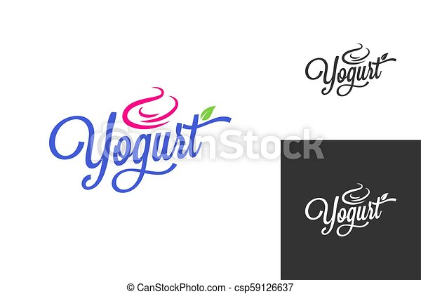yogurt cream logo. Frozen yogurt vintage lettering set background - csp59126637