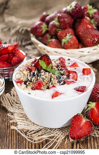 yogurt, fresco, feito, moranguinho - csp21099995