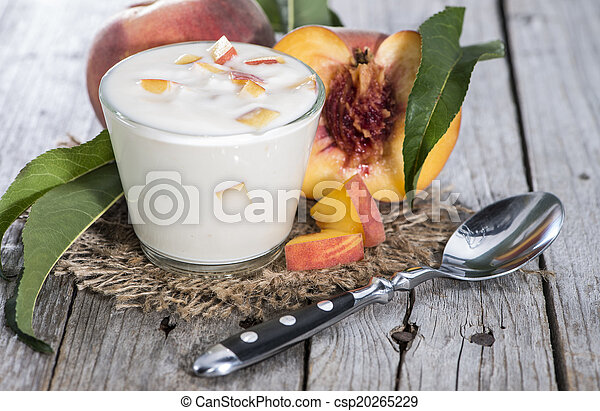 yogurt, fresco, feito, pêssego - csp20265229
