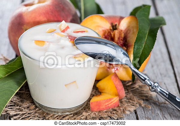 yogurt, fresco, feito, pêssego - csp17473002