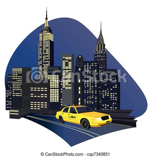 york , καινούργιος , πόλη , ταξί  - csp7340851