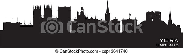 York England city skyline Detailed vector silhouette - csp13641740