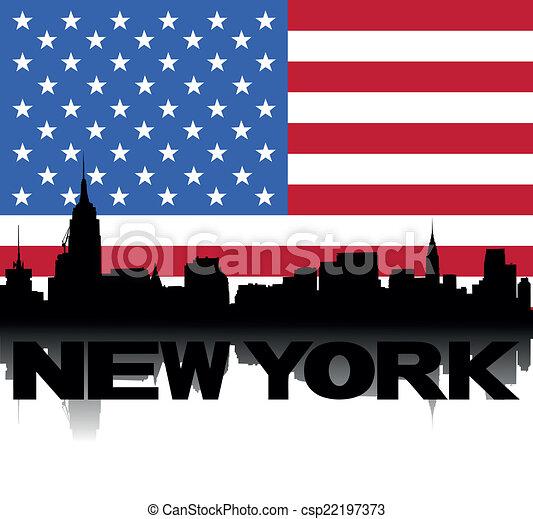 La bandera de texto de New York Skyline - csp22197373