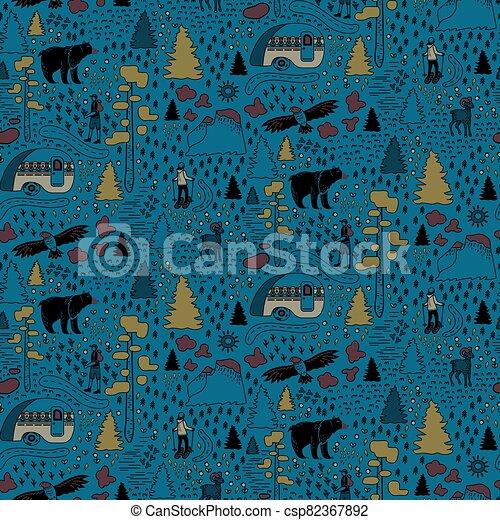 Yosemite National Park pattern design - csp82367892