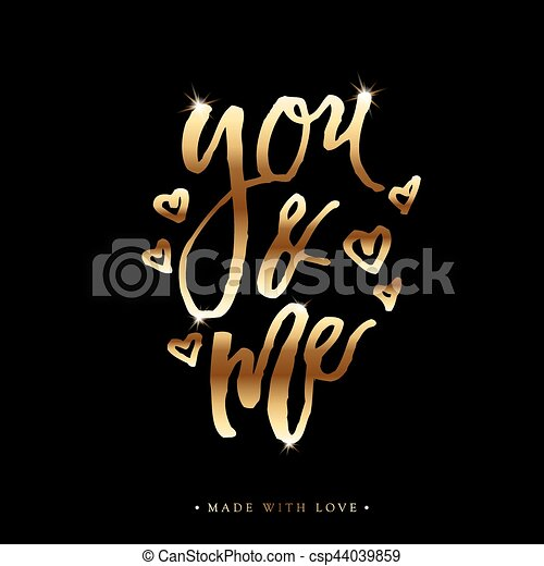 You and me greeting card with calligraphy you and me love gold you and me greeting card with calligraphy csp44039859 m4hsunfo