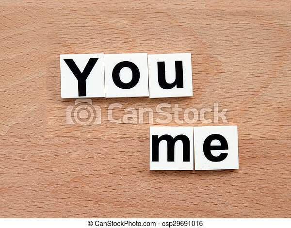 You and me, word concept on wooden background - csp29691016