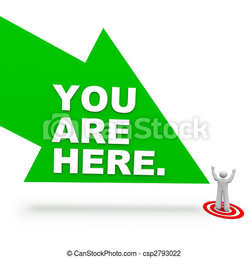 you are here arrow and person a large green arrow with
