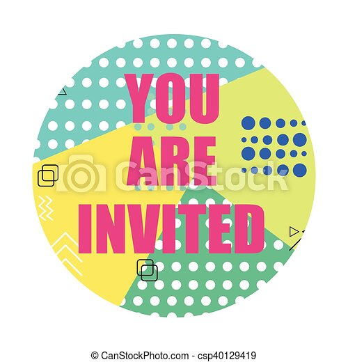 You are invited modern flyer invitation card vector illustration you are invited modern flyer invitation card vector illustration in memphis style stopboris Images