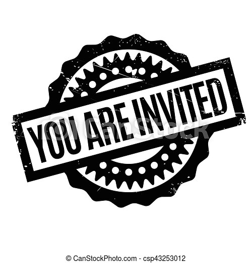 you are invited rubber stamp grunge design with dust scratches