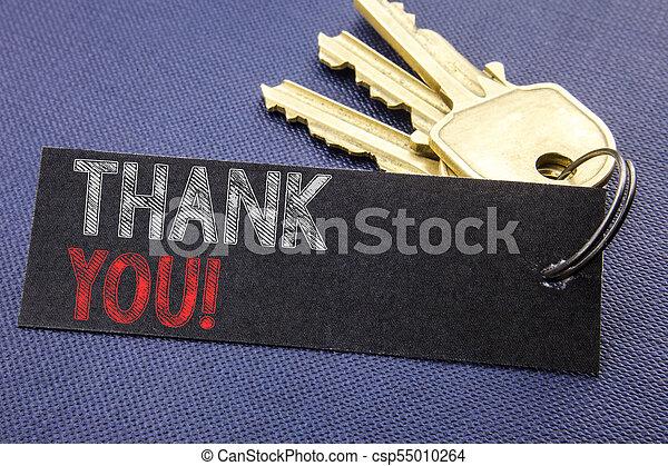 you., concept, remercier, business, espace, texte, projection, attaché, haut, écriture, note, écrit, papier, noir, remerciement, fond, clã©, fin, message, manuscrit - csp55010264