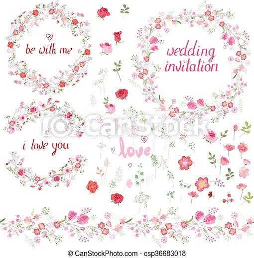 You., conjunto, elementos, romántico, patrón, cepillos, floral ...