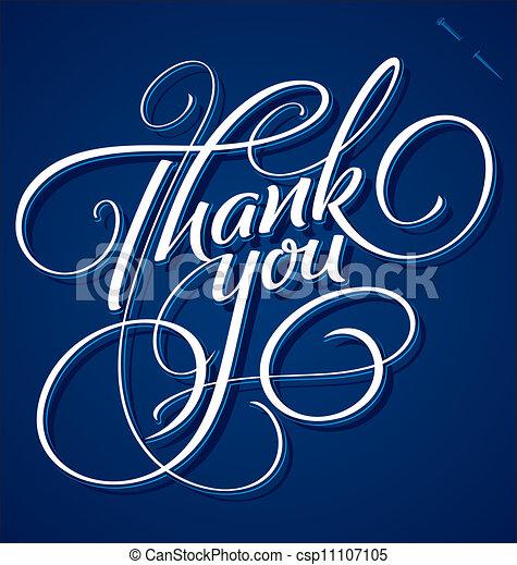 you', tytuł, 'thank, (vector), ręka - csp11107105