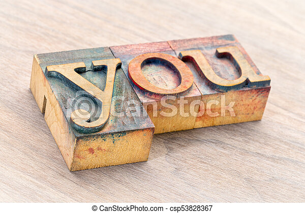 you word abstract in wood type - csp53828367