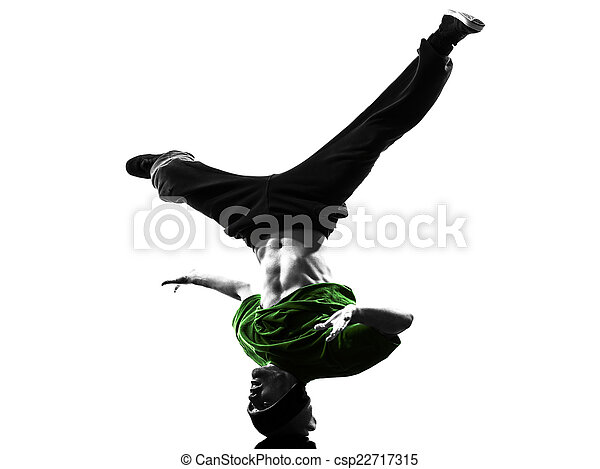 87fc93c14 Young acrobatic break dancer breakdancing man silhouette. One young ...