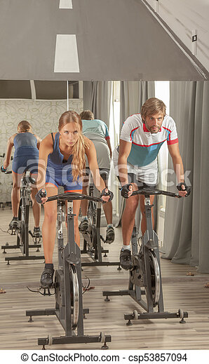 Young Active People Gym Cycling - csp53857094