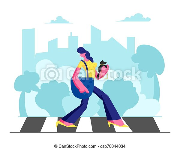 Young Adorable Woman in Fashioned Dress with Little Dog in Hands Walking along Crosswalk in Big Busy Metropolis, Girl City Dweller Lifestyle, Spare Time, Traffic. Cartoon Flat Vector Illustration - csp70044034