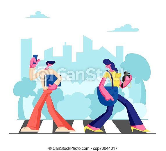 Young Adorable Woman with Dog and Man with Phone Walking along Crosswalk in Big Busy Metropolis, City Dwellers Lifestyle, Hurry at Work or Weekend Spare Time, Traffic. Cartoon Flat Vector Illustration - csp70044017