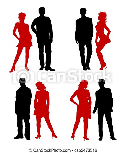 Young adults couple silhouettes black red - csp2473516
