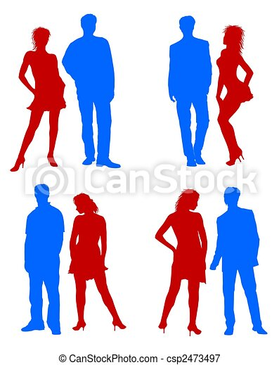 Young adults couple silhouettes red blue - csp2473497