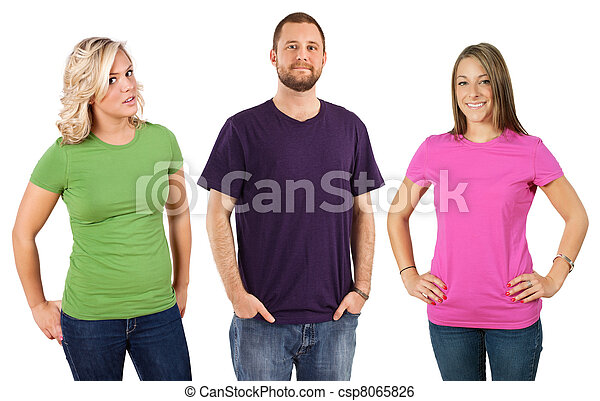 Young adults with blank shirts - csp8065826