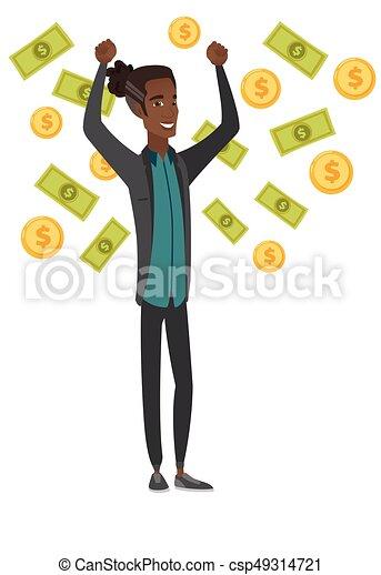 Young african-american busiessman under money rain - csp49314721