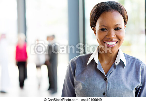 young african american business woman in office - csp19199649