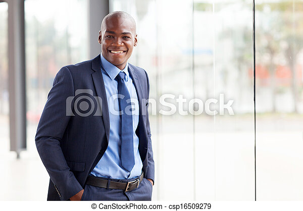 young african american businessman in office - csp16509279