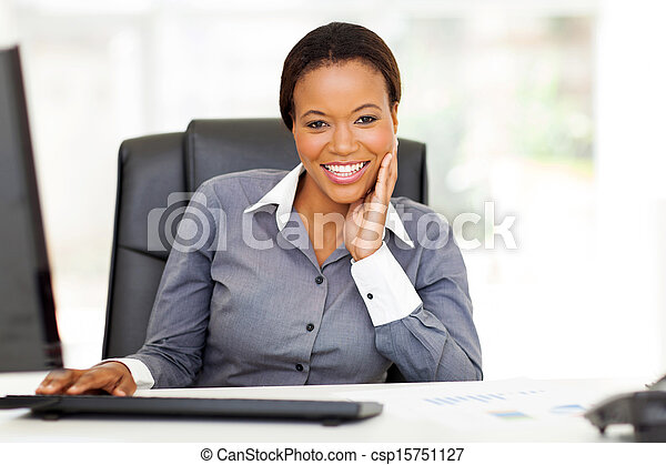 young african american businesswoman in office - csp15751127
