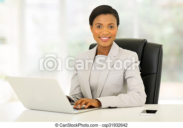 young african american businesswoman in office - csp31932642