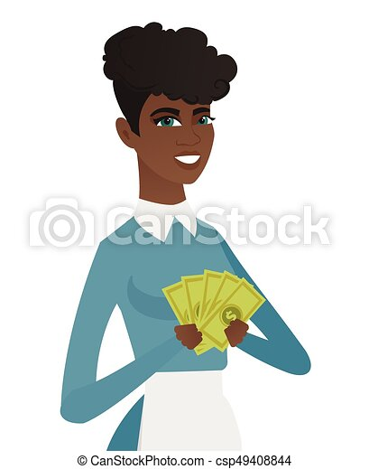 Young african-american cleaner holding money. - csp49408844