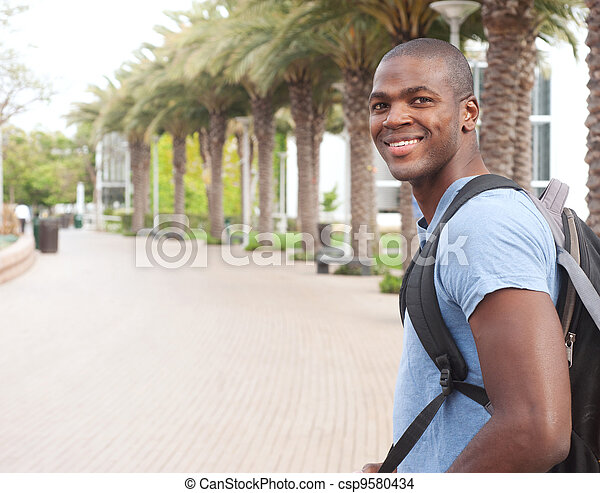 young African American college student - csp9580434