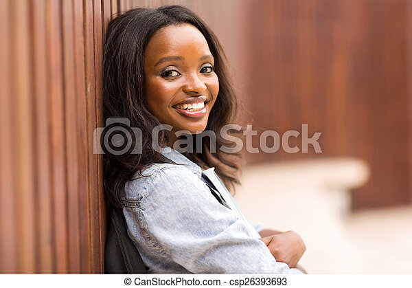 young african american college woman portrait - csp26393693