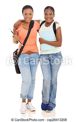 young african american college woman friends - csp26413208