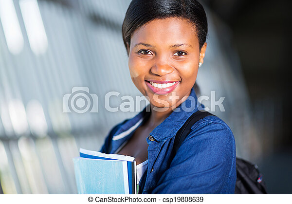young african american college woman close up - csp19808639